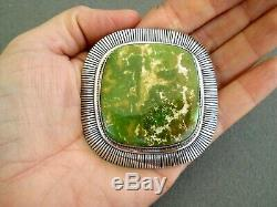Native American Moss Green Turquoise Sterling Silver Square Pendant Pin E BILLY