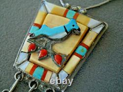 Native American Multi-Stone Inlay Sterling Silver Blue Jay Bird Necklace & Pin