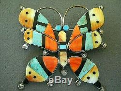 Native American Multi-Stone Inlay Sterling Silver Butterfly Pendant / Pin