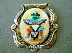 Native American Multi-Stone Inlay Sterling Silver Knifewing Kachina Pendant Pin
