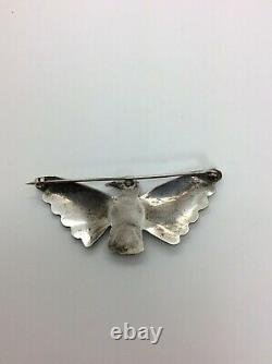 Native American NAVAJO Pin Sterling Silver Turquoise Stone Bird