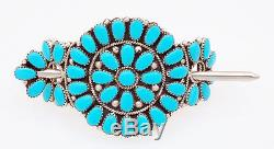 Native American Navajo Handmade Sterling Silver with Turquoise Cluster Hair Pin