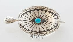Native American Navajo Handmade Sterling Silver with Turquoise Hair Pin