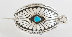 Native American Navajo Handmade Sterling Silver withTurquoise Hair Pin