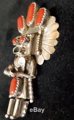 Native American Navajo Handmade sterling Silver Coral Kachina Pendant/pin