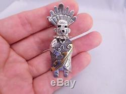 Native American Navajo Indian T Singer Sterling Silver Gold Kachina Dancer Pin