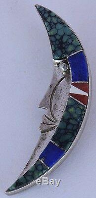 Native American Navajo Sterling gem inlay half moon face Brooch pin Marie Tsosie