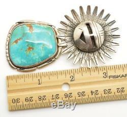Native American Navajo Sun Turquoise Sterling Silver Pendant Pin Nelson Morton