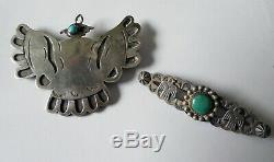Native American OLD PAWN Fred Harvey Turquoise STERLING SILVER Pin Brooch LOT