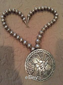 Native American OLD PAWN Necklace and large BECENTI PENDANT/Pin