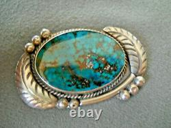 Native American Pilot Mountain Turquoise Sterling Silver Leaves Pin Brooch