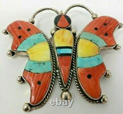 Native American Pin/Pendant Butterfly 2-3/4 x 2-1/2 Marked D