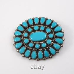 Native American Signed Sterling Silver Blue Turquoise Oval Brooch Pin LHC5