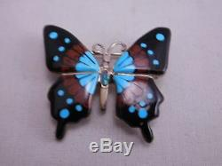 Native American Southwest Sterling Silver Turquoise Onyx Opal Butterfly Pin
