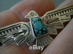 Native American Spiderweb Turquoise Thunderbird Stamped Sterling Silver Pin