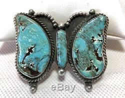 Native American Sterling Silver Blue Turquoise Butterfly Pin Brooch