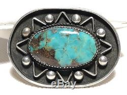 Native American Sterling Silver Blue Turquoise Pin Brooch