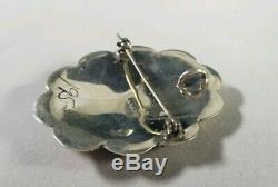 Native American Sterling Silver Brooch Pin Pendant Orange Stones Spiny Oyster