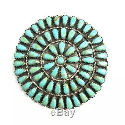 Native American Sterling Silver Navajo Handmade Green Turquoise Pin /pendant