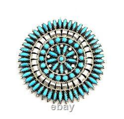Native American Sterling Silver Navajo Handmade Turquoise Pin Pendant