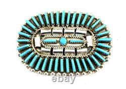 Native American Sterling Silver Navajo Handmade Turquoise Pin / Pendant