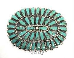 Native American Sterling Silver Navajo Handmade Turquoise cluster bin / pendent