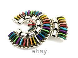 Native American Sterling Silver Navajo Najah Multicolored Pin / Pendant