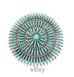Native American Sterling Silver Needle Point Handmade Turquoise Zuni Pin Pendant