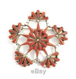 Native American Sterling Silver Zuni Handmade Natural Coral Pin / Pendant