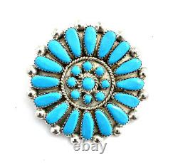 Native American Sterling Silver Zuni Handmade Turquoise Pin