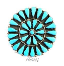 Native American Sterling Silver Zuni Handmade Turquoise Pin / Pendant