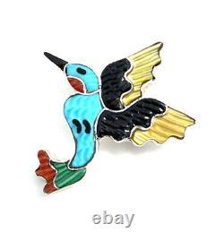 Native American Sterling Silver Zuni Multicolored Hummingbirds Pin Pendant