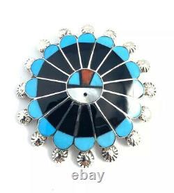 Native American Sterling Silver Zuni Multicolored Sun Face Pin / Pendant