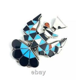 Native American Sterling Silver Zuni Multicolored Thunder Bird Pin / Pendant