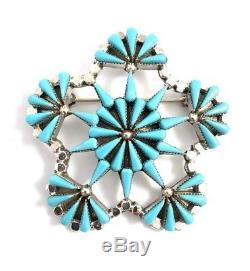 Native American Sterling Silver Zuni Sleeping Beauty Turquoise Pin / Pendant