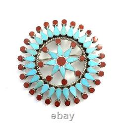 Native American Sterling Silver Zuni Snow Flake Turquoise Coral Pin / Pendant