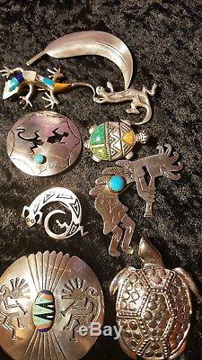 Native American Sterling silver. Turquoise pin brooch Lot. 9 items