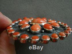Native American Style Coral Rosette Cluster Silver Pin Brooch FEDERICO JIMENEZ