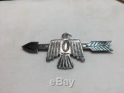 Native American Thunderbird and Arrow Coin Silver Brooch/ Pin Marked IH Large