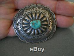 Native American Turquoise Sterling Silver Stamped Repousse Concho Pin Brooch