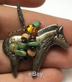 Native American Vintage Sterling Silver Western Horse Pin Brooch Zuni Turquoise