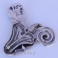 Native American, Yaqui Bisbee Turquoise sterling Silver pin brooch by Art Tafoya