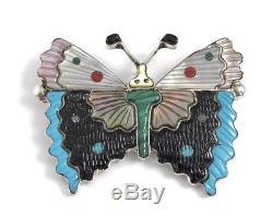 Native American Zuni Handmade Butterfly Multicolored Pin Pendant