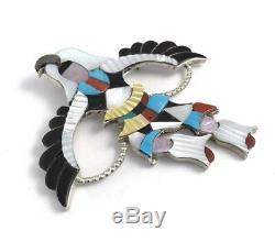 Native American Zuni Handmade Eagles Dancer Multicolored Pin Pendant