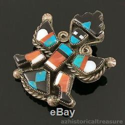 Native American Zuni Handmade Silver Mosaic Inlay Knifewing Brooch Pin