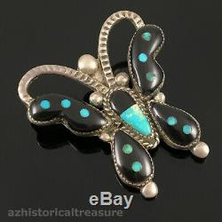 Native American Zuni Handmade Silver Multi-stone Inlay Butterfly Pin Brooch