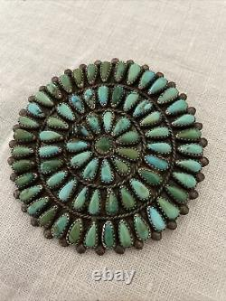 Native American Zuni Handmade Silver & Natural Turquoise Cluster Brooch Pin