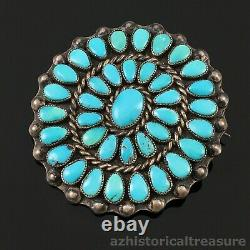 Native American Zuni Handmade Silver & Turquoise Cluster Brooch Pin