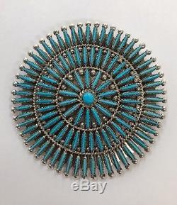 Native American Zuni Handmade Sleeping Beauty Turquoise Pin Pendant