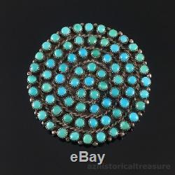 Native American Zuni Handmade Sterling Silver & Snake Eye Turquoise Pin Brooch